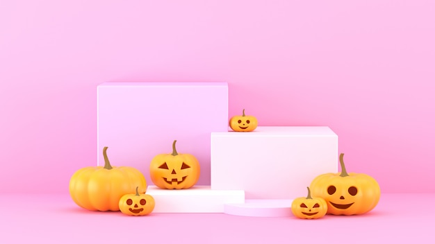 3d rendono, fondo rosa astratto con il podio di forma geometrica per il prodotto. Foto Premium