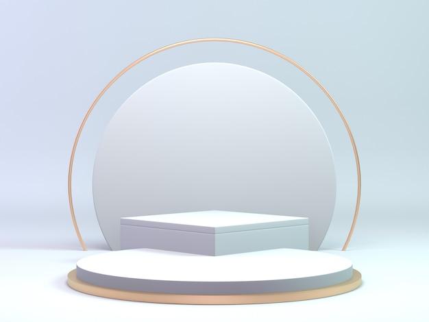 3d rendono il podio classico dell'oro e di bianco per il prodotto di bellezza o cosmetico. podio di lusso. Foto Premium