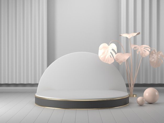 3d rendono il podio geometrico vetrina bianca del podio 3d per il prodotto Foto Premium