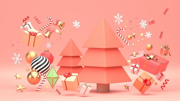 3d rendono l'immagine della progettazione dell'albero di natale per la festa di natale decorano dalla forma geometrica dell'ornamento e dal giftbox. Foto Premium