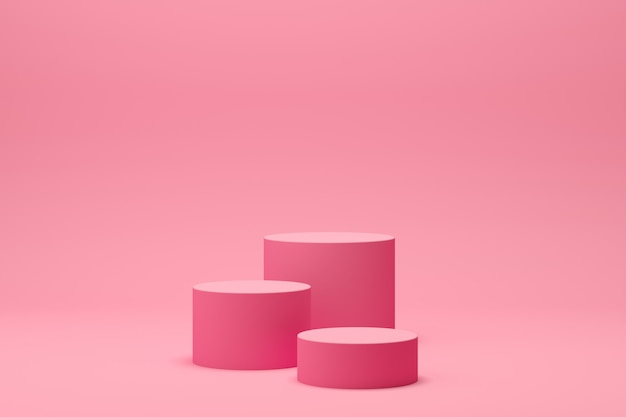3d rendono la scena astratta del podio di forma della geometria con fondo rosa per esposizione e prodotto Foto Premium