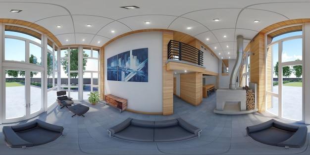 3d sferici 360 gradi, panorama senza soluzione di continuità di soggiorno e cucina i Foto Premium