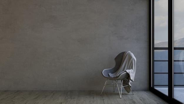 3d stanza vuota e sedia contemporanea Foto Gratuite