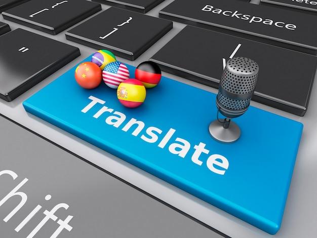 3d tradurre lingue straniere sulla tastiera del computer Foto Premium