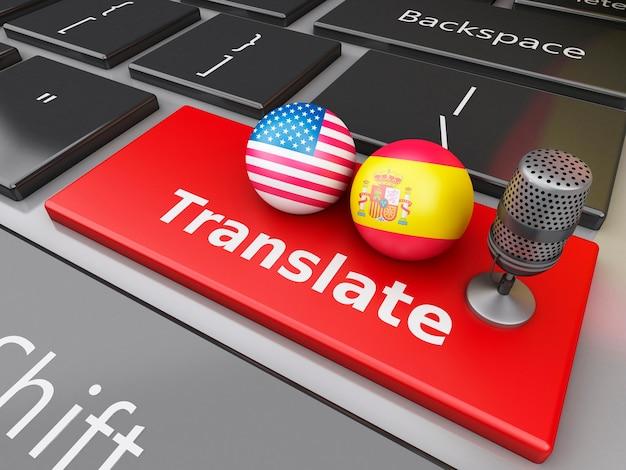 3d tradurre spagnolo e inglese sulla tastiera del computer. Foto Premium