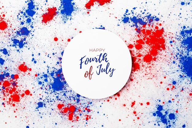 4 luglio sfondo con scritte e fuochi d'artificio realizzati con macchie di colore holi Foto Gratuite