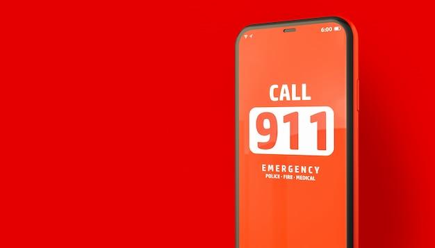 911 chiamata di emergenza da smartphone Foto Premium