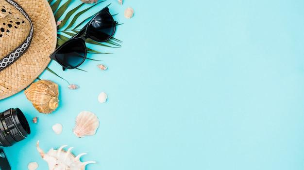 Accessori diversi tra conchiglie e foglie di piante Foto Gratuite