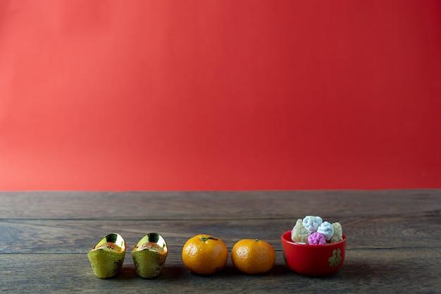 Accessori su capodanno lunare e sfondo vacanza capodanno cinese. Foto Premium