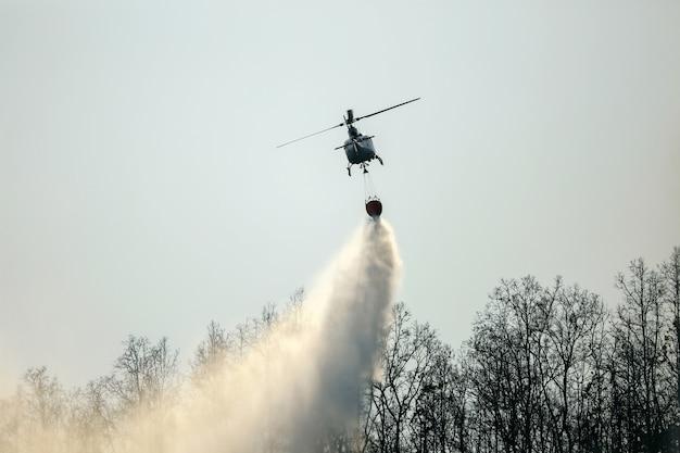 Acqua cadente dell'elicottero sull'incendio forestale Foto Premium