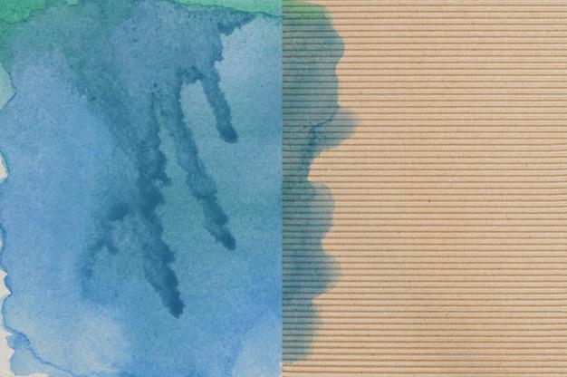 Acquerello blu e verde su sfondo di carta Foto Premium