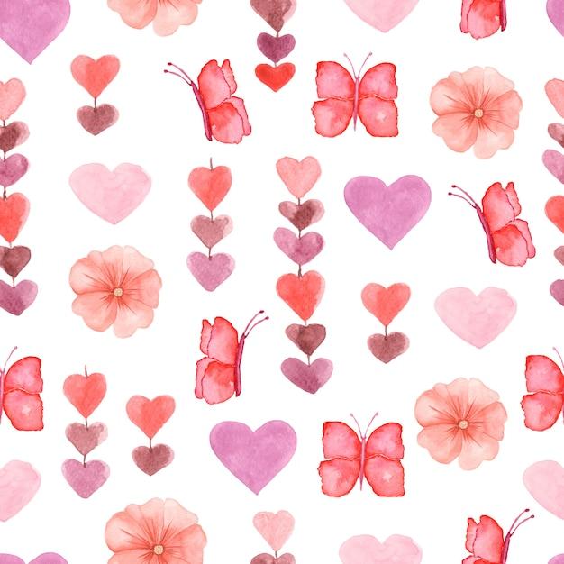 Acquerello simpatico modello senza saldatura con fiori, cuore e farfalla Foto Premium