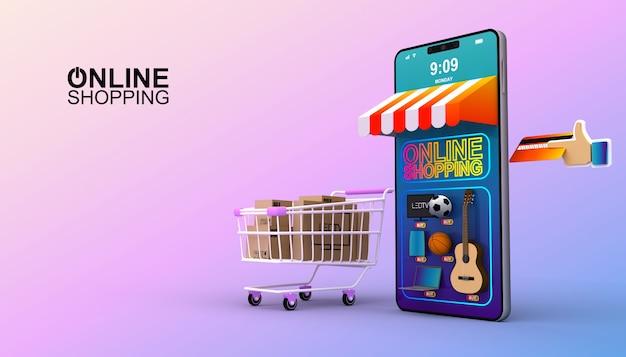 Acquisto online, applicazione mobile, illustrazione della rappresentazione 3d Foto Premium