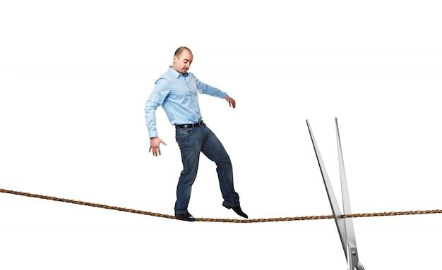 Acrobata su corda Foto Premium