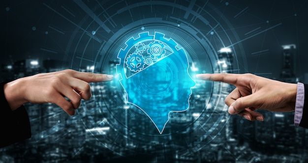 Ai learning and artificial intelligence c Foto Premium