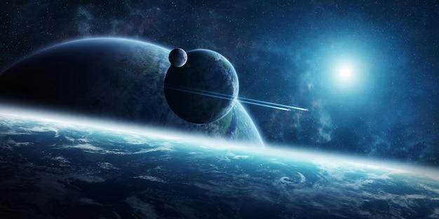 Alba sopra il sistema distante del pianeta nella rappresentazione dello spazio 3d Foto Premium