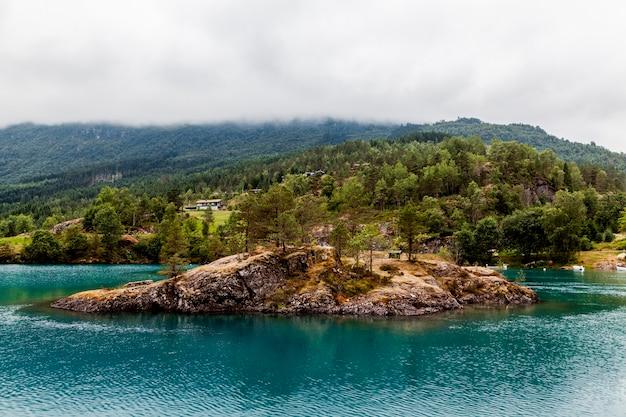 Alberi verdi sopra la collina sul lago blu Foto Gratuite