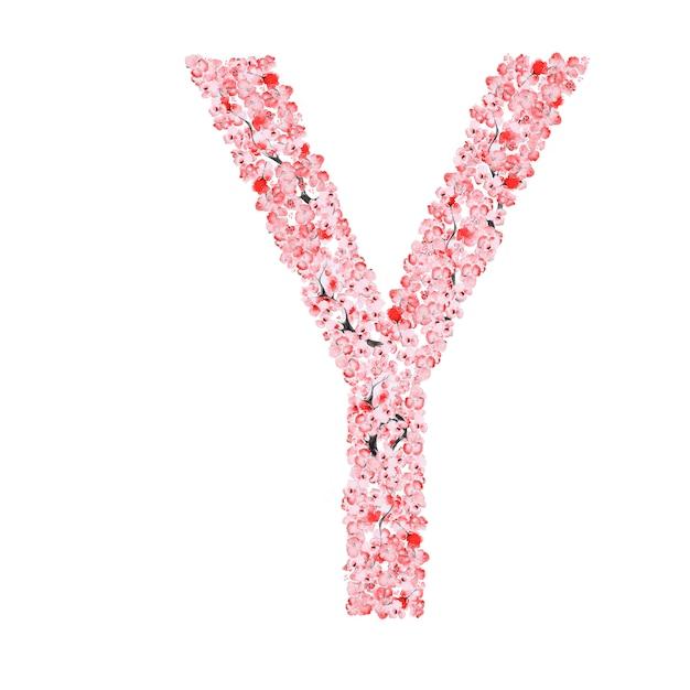 Alfabeto di fiori di sakura. lettera y Foto Premium