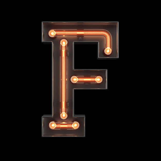 Alfabeto di luce al neon f Foto Premium