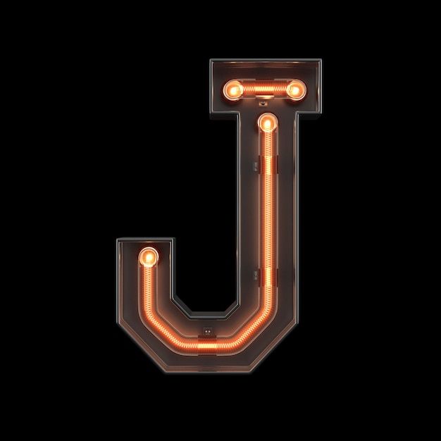 Alfabeto di luce al neon j Foto Premium