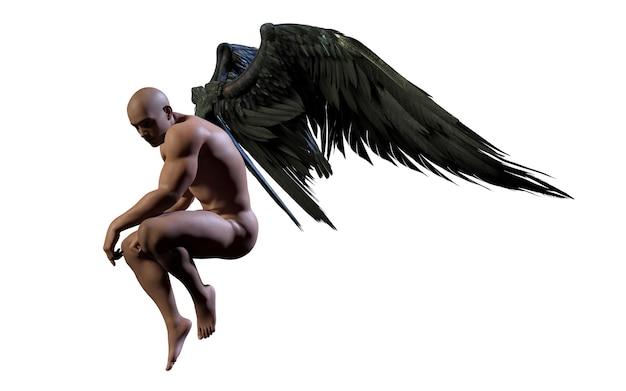Ali del demone dell'illustrazione 3d, piume dell'ala nera isolate su fondo bianco con il ritaglio Foto Premium