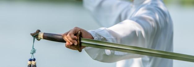 Allenamento della spada della tenuta della mano del maestro di tai chi chuan nel parco, arti marziali cinesi. Foto Premium
