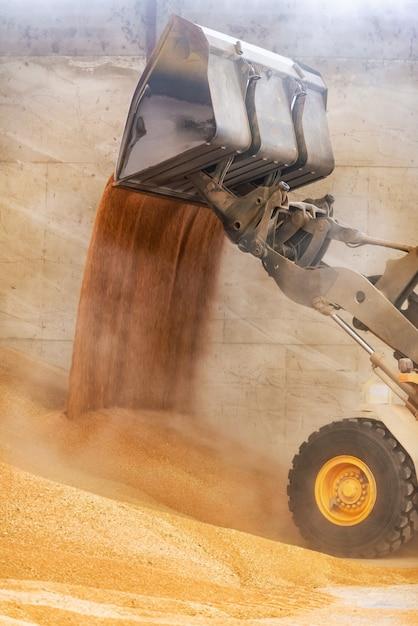 Alto vicino del caricatore della ruota, sabbia di caricamento dell'escavatore al cantiere. Foto Premium