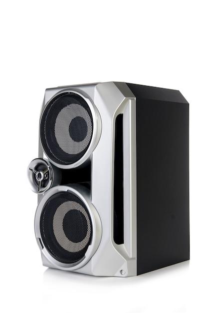 Altoparlante audio sano isolato su sfondo bianco Foto Premium