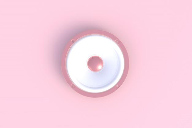 Altoparlante sano isolato su un fondo rosa, rappresentazione 3d Foto Premium