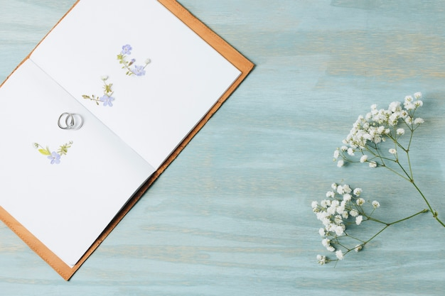 Ami il testo fatto con le fedi nuziali su un libro aperto con il fiore del gypsophila sopra il contesto di legno Foto Gratuite