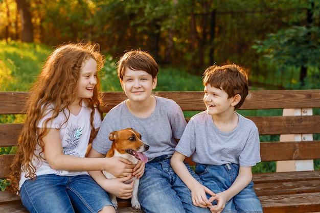Amici e cane svegli che riposano nel parco di estate. Foto Premium