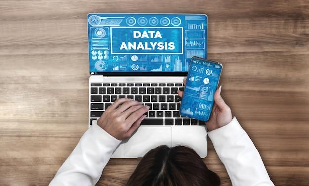 Analisi dei dati per sfondo di affari e finanza Foto Premium
