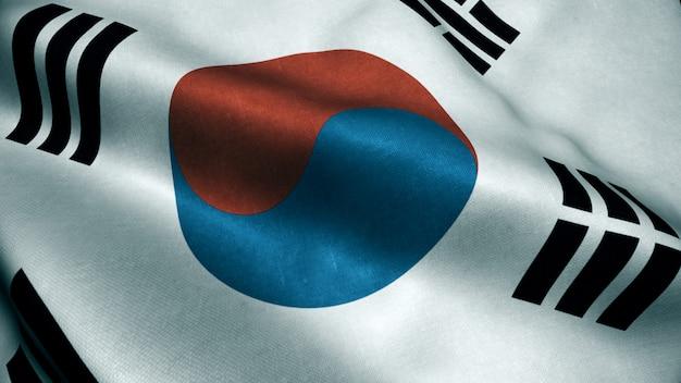 Animazione 3d della bandiera della corea del sud. bandiera della corea del sud realistico che fluttua nel vento. Foto Premium