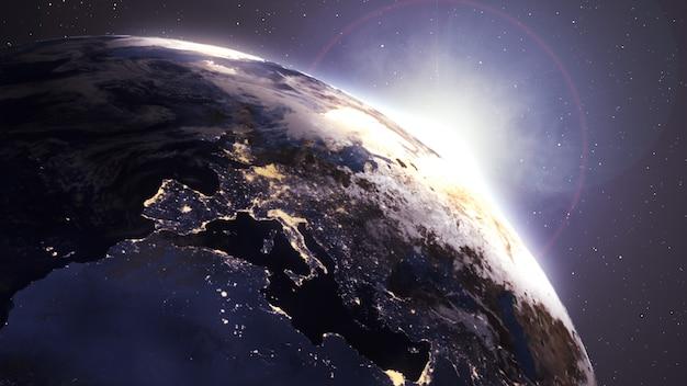 Animazione mediante immagini satellitari (nasa). Foto Premium