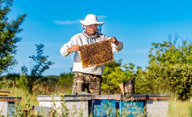 Apicoltore in abiti da lavoro protettivi ispezionando la cornice a nido d'ape piena di api vicino agli alveari in legno in una giornata di sole. Foto Premium
