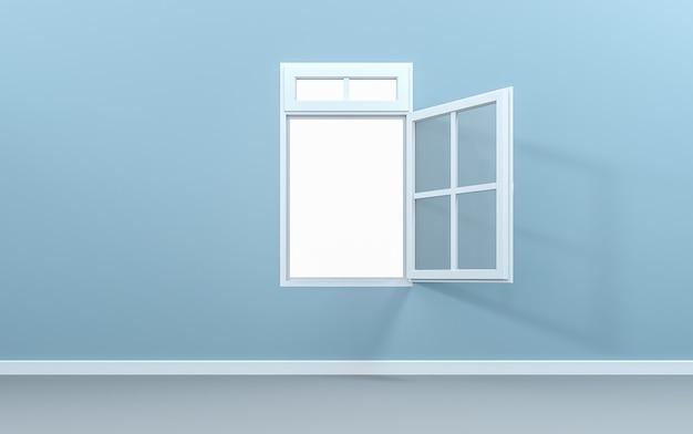 Aprire la finestra nella stanza vuota con tracciato di ritaglio. rendering 3d Foto Premium