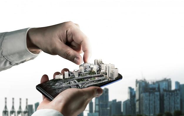 Architettura innovativa e piano di ingegneria civile Foto Premium