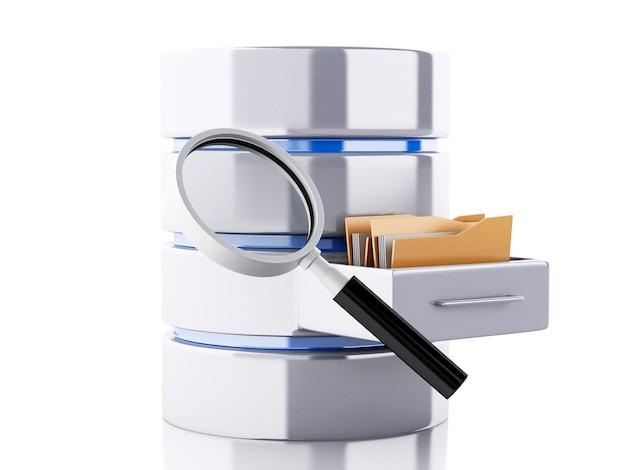 Archiviazione dati 3d con cartelle Foto Premium