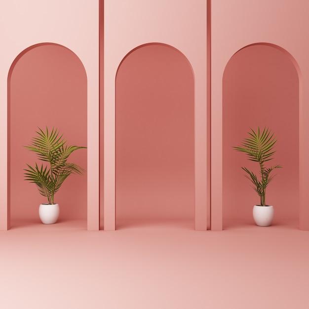 Arco rosa minimalista con piante Foto Premium