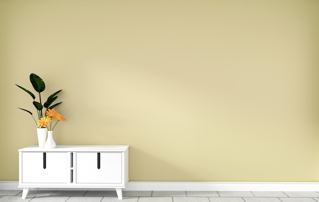 Armadietto da tavolo nella moderna stanza vuota gialla, disegni minimali, rendering 3d Foto Premium
