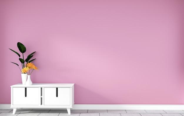 Armadietto da tavolo nella moderna stanza vuota rosa, disegni minimali, rendering 3d Foto Premium