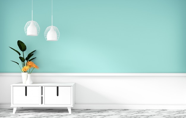 Armadietto da tavolo nella stanza vuota moderna della menta, disegni minimi, rappresentazione 3d Foto Premium