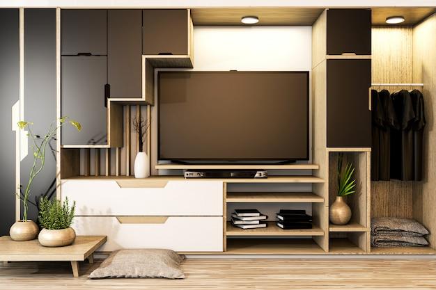 Armadio tv mix armadio mensola in legno in stile giapponese e piante decorative su mensola. rendering 3d Foto Premium