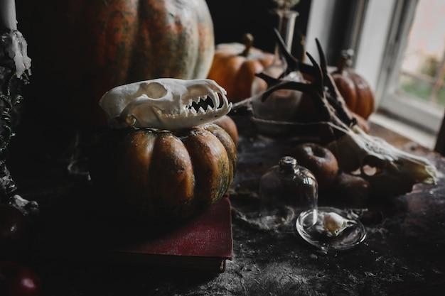 Arredamento di halloween vecchie zucche, melograni, mele Foto Gratuite
