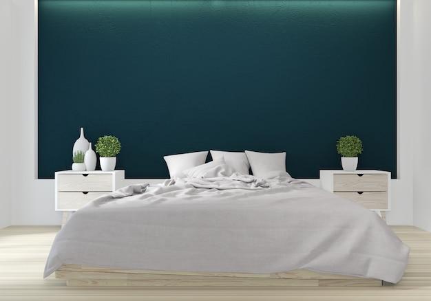 Arredamento giapponese di colore verde della camera da letto Foto Premium