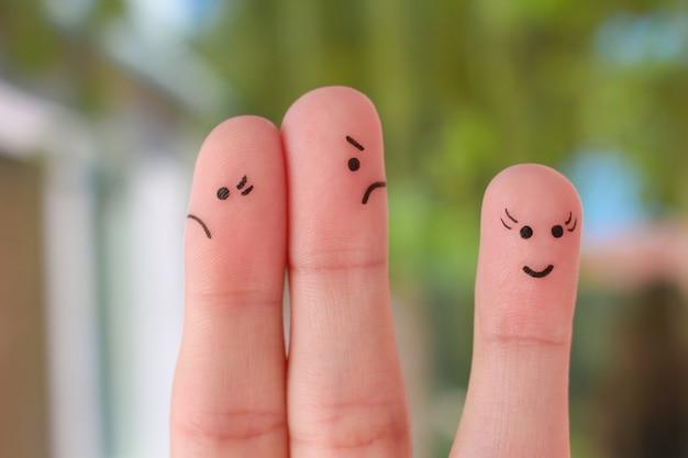 Arte del dito della famiglia durante il litigio. una coppia litiga, un'altra donna è felice. Foto Premium
