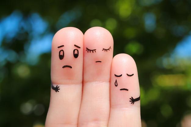 Arte delle dita della famiglia dispiaciuta. Foto Premium