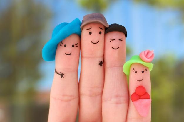 Arte delle dita della famiglia in vacanza. Foto Premium