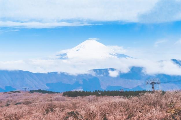 Ascensore della funivia di hakone alla montagna di owakudani con fuji sui precedenti Foto Premium