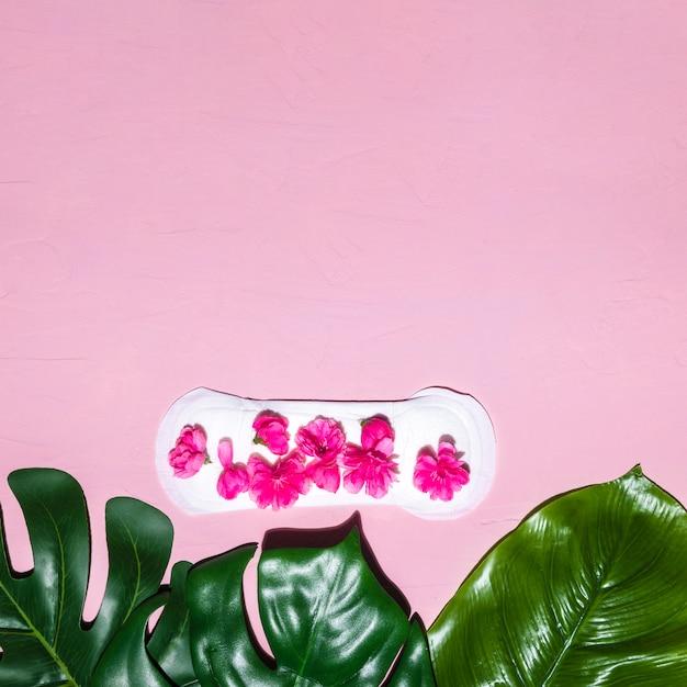 Asciugamano sanitario a vista dall'alto con petali Foto Gratuite